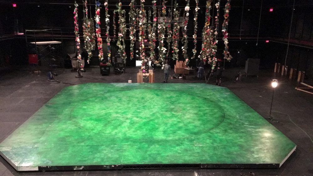 Set design in progress of Purchase Repertory Theatre's spring 2018 production of A Midsummer Night's Dream