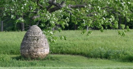 Goldsworthy Stone Egg Sculpture on Campus