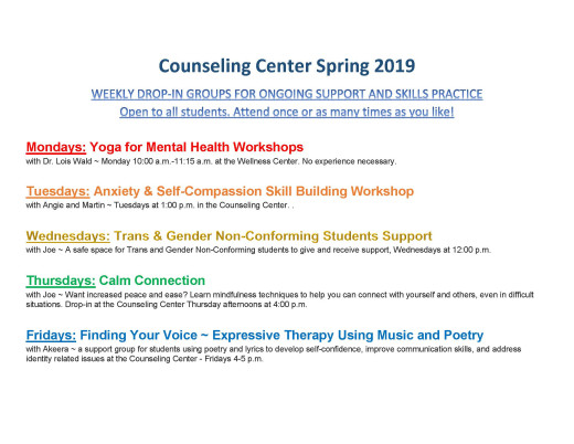 Counseling Center Mondays: Yoga for Mental Health with Dr. Lois Wald ~ Monday 10:00 a.m.-11:15 a.m. at the Wellness Center...