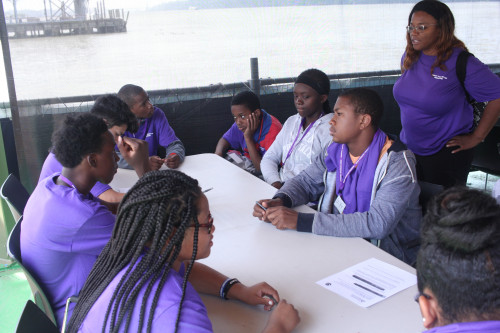 Students at Science Barge