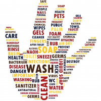Hand washing related-words put together in the shape of an open hand
