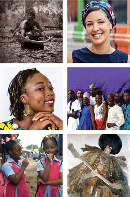 Clockwise from top right: Audace Aziakou Photograph; Marie-Cécil Zinsou; Benin International Musical by Aube Coeurdray; Egungun by Hector Sonon; Still from Najaia Combs' film, shot in Cotonou, Benin; ISMA student Cornelia Glele.