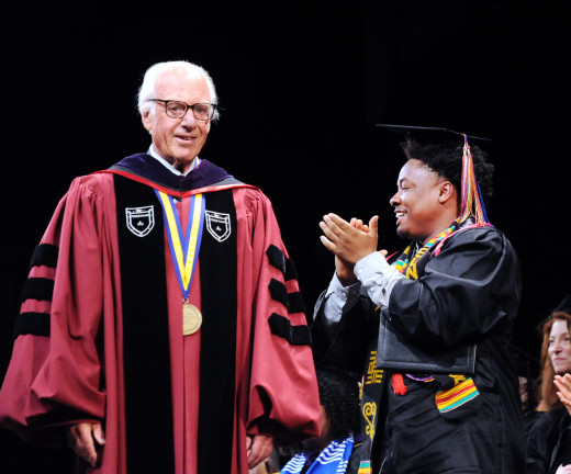 President Schwarz at Commencement at the Westchester Civic Center, White Plains, N.Y., Friday, May 18, 2018.
