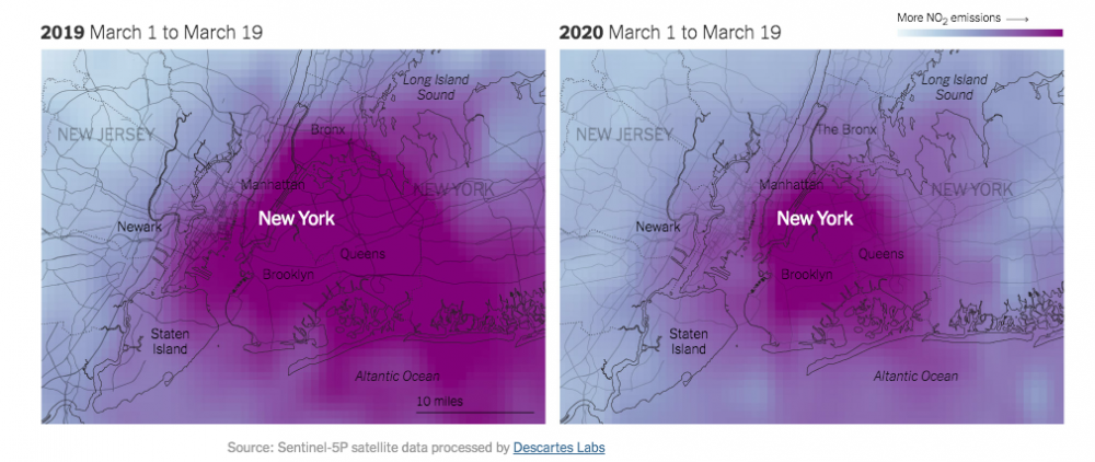 Satellite imagery comparing NO2 levels in NYC from March 2019 and March 2020