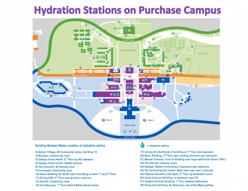 Map of Hydration Stations on Campus