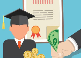 cartoon of graduating person with diploma and money around them