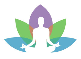 Silhouette of a person meditating with a flower image in the background.