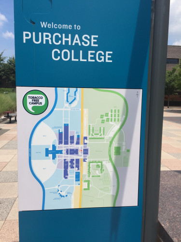 Welcome to Purchase College map with Tobacco Free Campus logo.