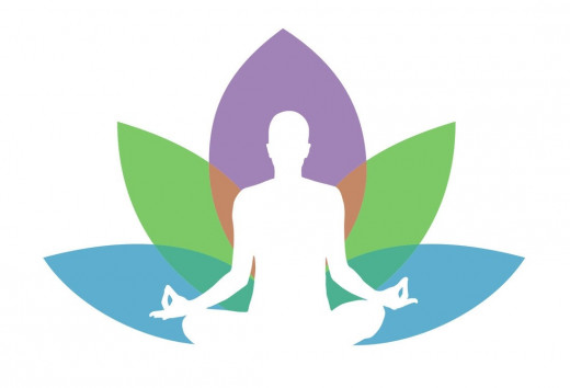 Silhouette of a person meditating with an image of a flower in the background.