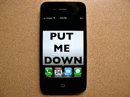 "Phone displays ""put me down"""
