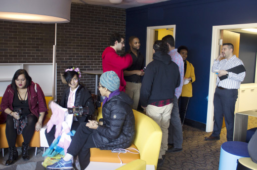 Students and staff gather in the Commuter Lounge