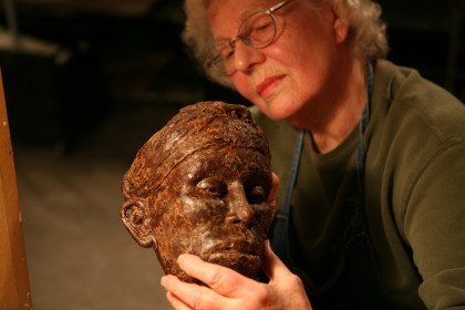 Adult Student Works on Bronze Sculpture