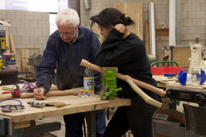 Faculty and Student in Wood Shop