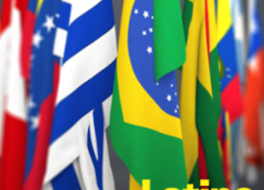 Flags of Latin American countries with text Purchase College Celebrates Latino Heritage Month