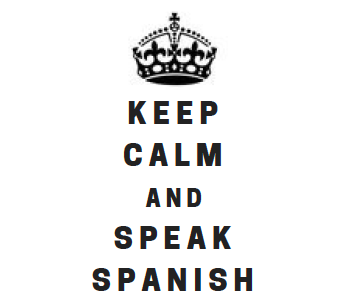 Keep calm and speak Spanish with an image of crown on top