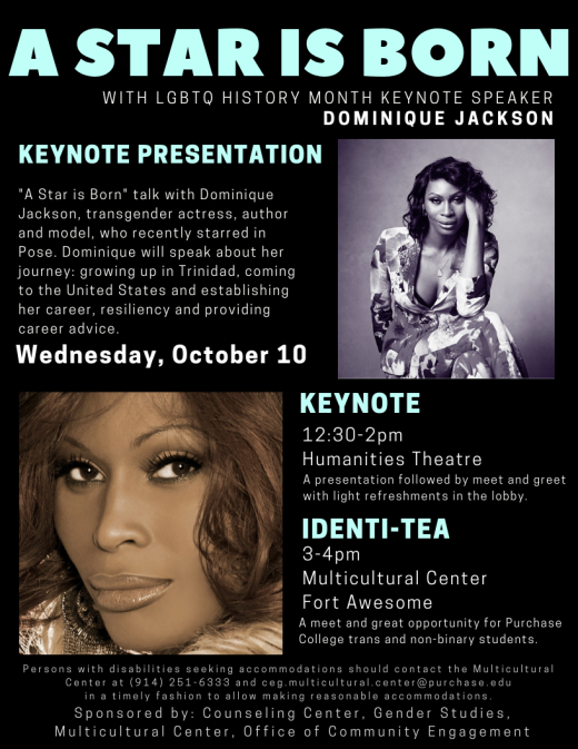 Flyer with event details of A Star Is Born with Dominique Jackson. Two headshots of speaker.