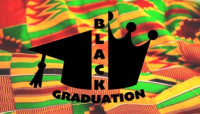 a graduation cap merged with a crown and the words Black Graduation