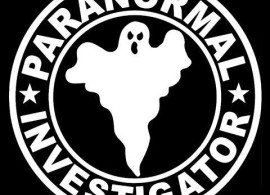 ghost in circle with paranormal investigator written around