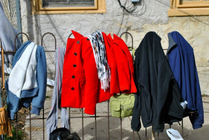 clothes on a fence outside
