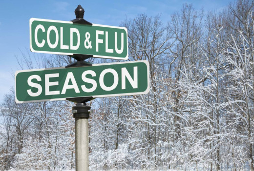 "street sign with the words ""cold & flu"" on one and ""season"" on the other"