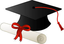 image description: black graduation cap with paper diploma