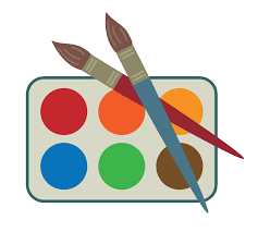 image description: two paintbrushes on a paint pallet with red, orange, yellow, green, blue and brown paint