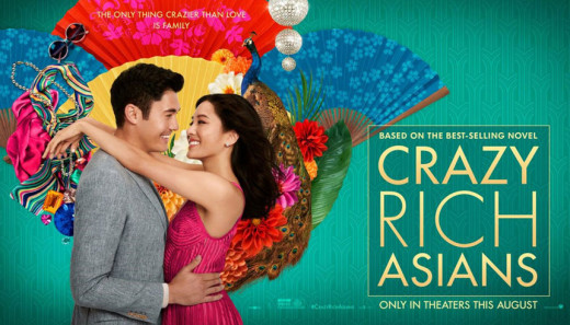 image description: movie poster for Crazy Rich Asians. Man and woman on a green background with a blue fan