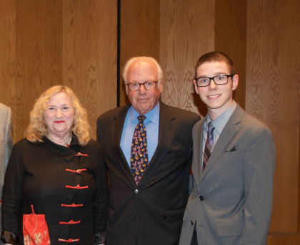 Jandon Lecture 2016, (from left to right) Ruby Lerner, speaker, President Thomas Schwarz, and Jonathan Stafford, student winner.