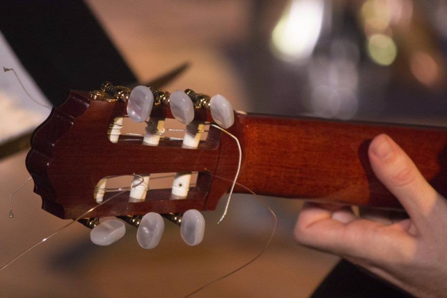 Reverse of a classical guitar headstock and neck