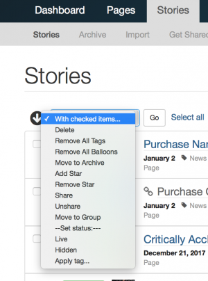 With Check Items list in the story dashboard