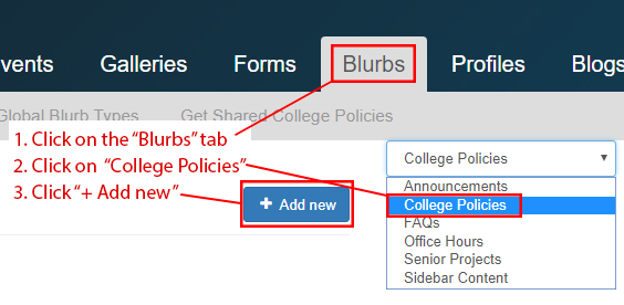 In the livewhale dashboard there is a tab named blurbs.