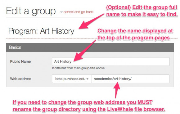 Step 3: Change the group public name and Step 4 (optional): Change the web address