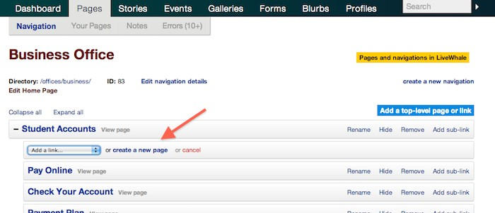 Create a page from the navigation interface in LiveWhale on Purchase.edu