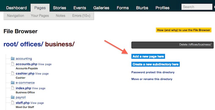 Create a page, independent of navigations in LiveWhale on Purchase.edu