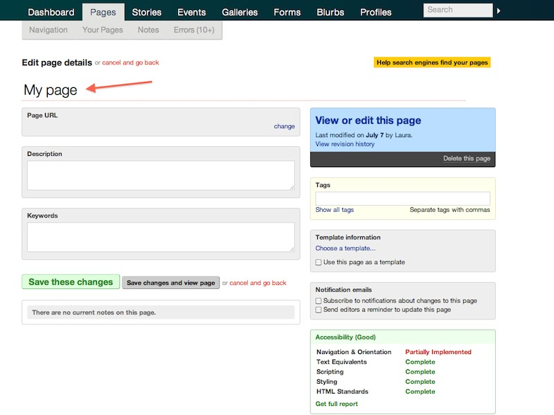 Replace the title in edit page details LiveWhale CMS on Purchase.edu