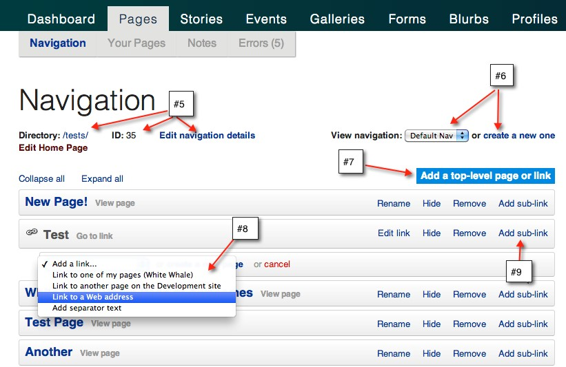 The Navigation View for Adding or Editing Sidebar Navigation in Live Whale on Purchase.edu