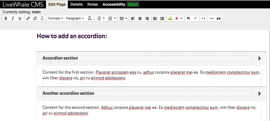 Add titles and content to your accordion as shown. Once you save the page, the content of each section will be hidden.