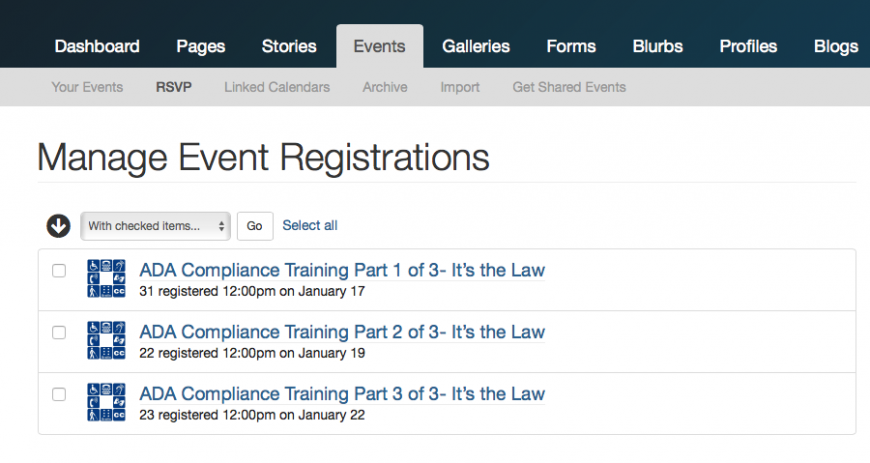 Manage Event Registration Tab
