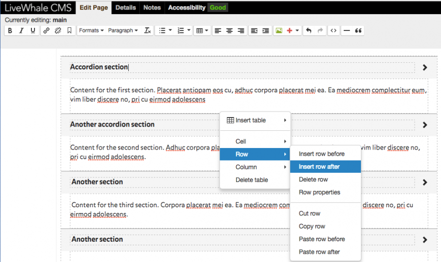 To add more rows, right click on any row in the accordion and select insert row after or before.