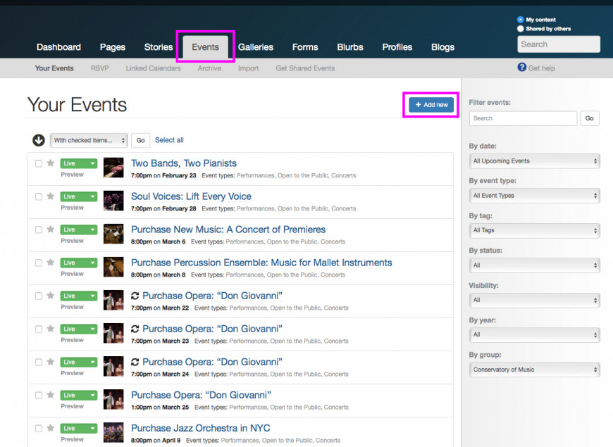 Events tab in the dashboard
