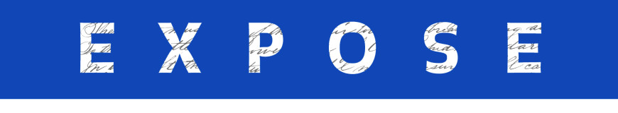 EXPOSE header in white lettering with royal blue background.