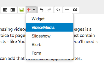 Use this button to add video to your page.