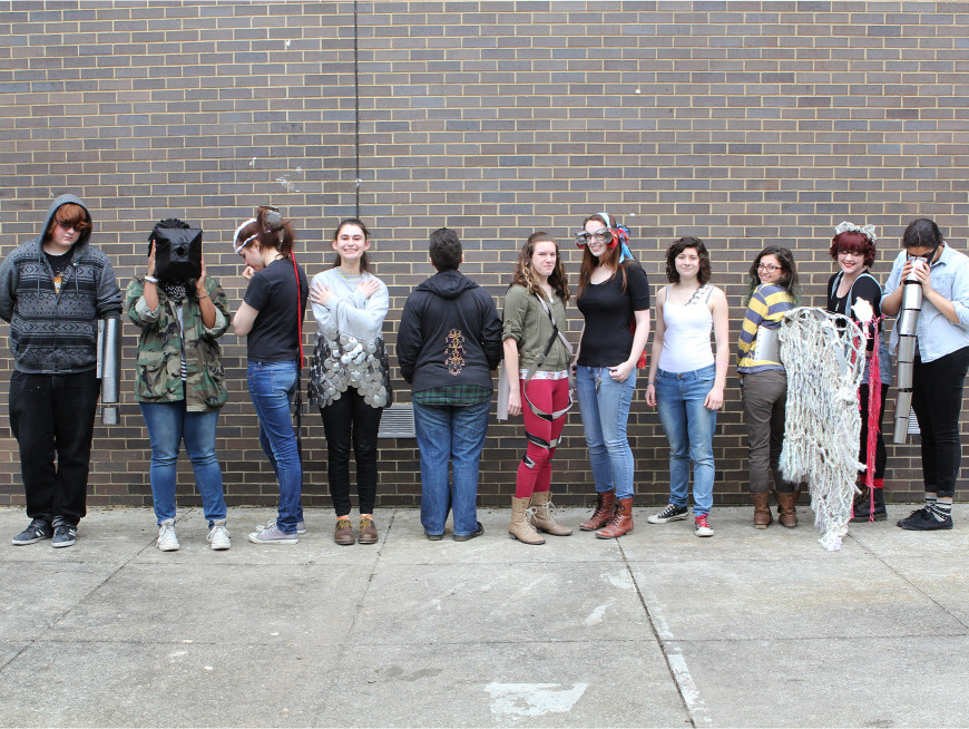 "Foundation Students wearing their ""Body Extension"" projects from 3-D Processes"