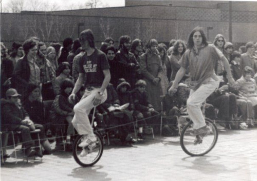Purchase Circus Woody Davis and John Kahn - Students competing in a unicycling competition at Purchase College