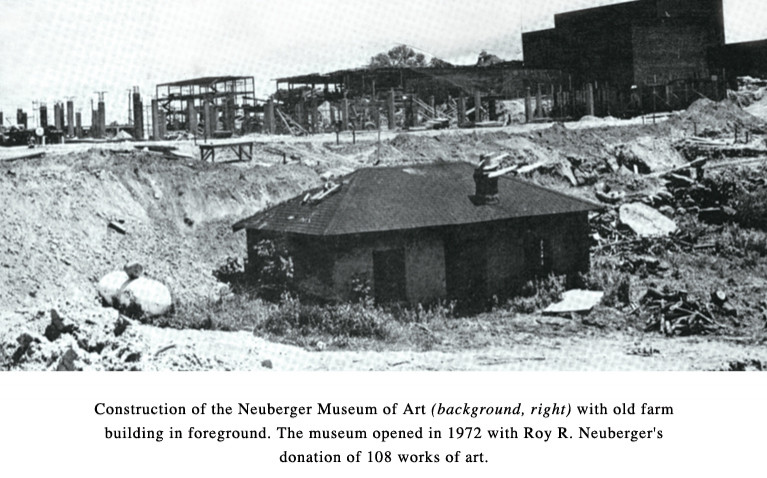 Construction of Neuberger Museum Art (background right) with old farm building foreground. The museum opened in 1972 with Roy R. Neuberger's donation of 108 works of art.