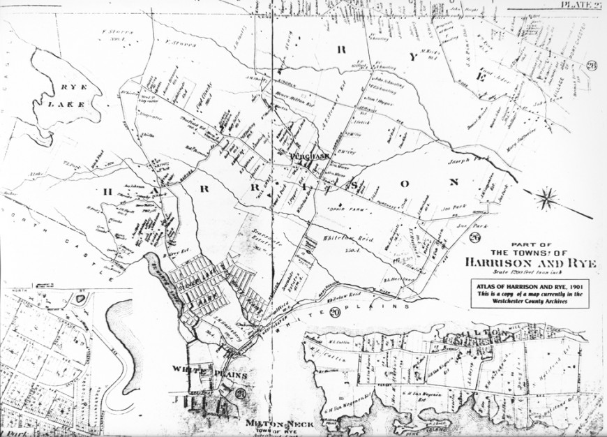 Map of Harrison and Rye