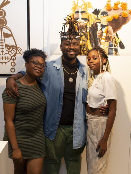 Our student Jaleel Campbell and his friends during the Spring 2019 MFA Media Arts show opening