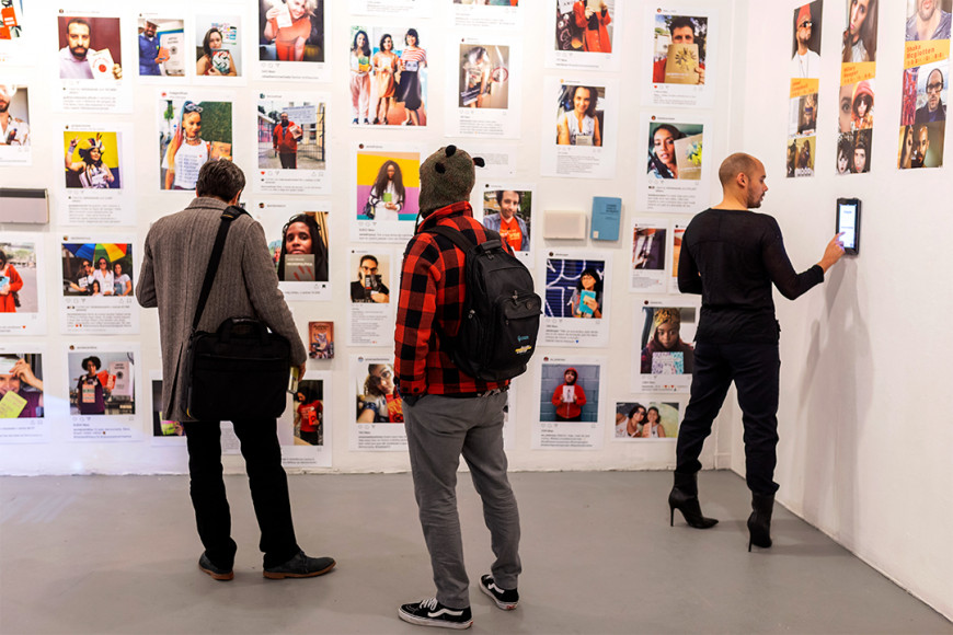 Installation view of work by MFA Media Arts student Tatiana Leal and Jaleel Campbell