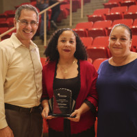 Glorivee Rojas (middle) with EOP/MAP Director Paul Nicholson and EOP Counselor Mary Garcia.