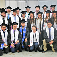 With their caps and athletic stoles in place, student-athlete members of the 2017 senior class (above) joined together tod...